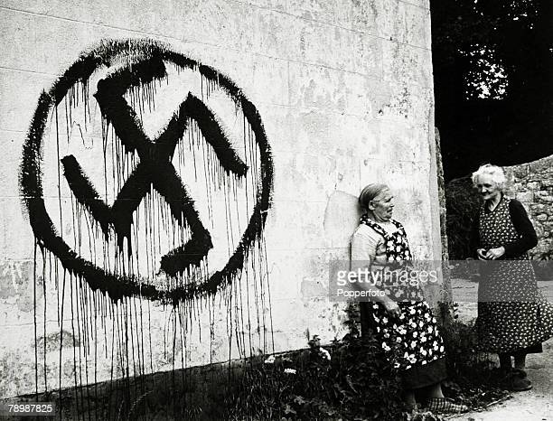 War and Conflict World War 2 Jersey Channel Islands pic circa 1945 Patriots on the island of Jersey marked the houses of collaborators with the...