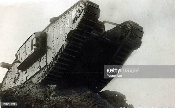 """War and Conflict, World War I, 1914-1918, British Military, A British """"female"""" tank in action, The tank, invented by the British, first proved it's..."""