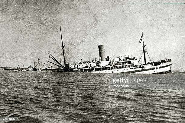 War and Conflict World War I 19141918 pic March 1917 The clearly marked British hospital ship 'Gloucester Castle' is partially sunk by a German Uboat...