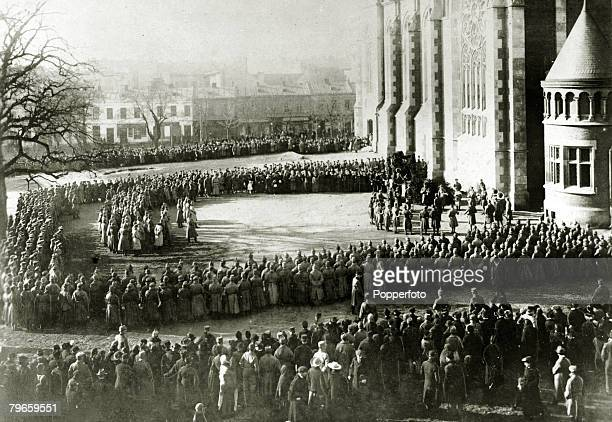 War and Conflict World War I 19141918 The German occupation of Poland German soldiers drawn up before the Empress Elisabeth Church in Lemberg after...