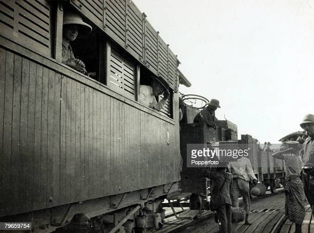War and Conflict World War I Africa pic 1914 AngloFrench conquest of Togoland shows a trainload of German prisoners at Lome stopped on the pier...