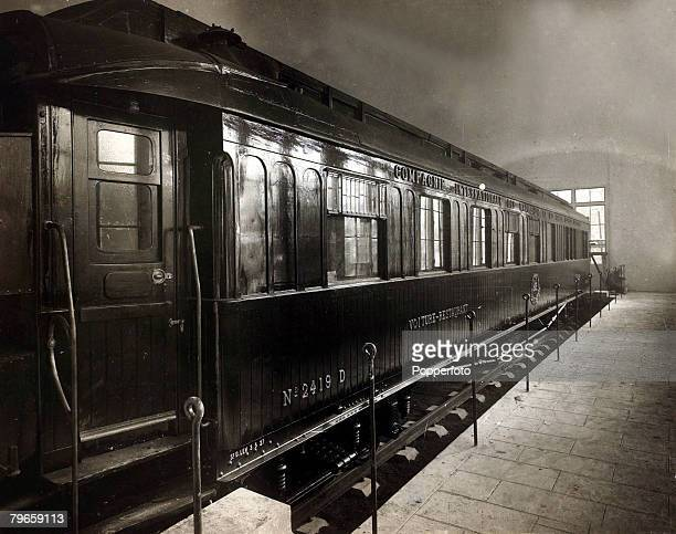 War and Conflict World War I Armistice pic circa 1920's Marshal Foch's railway coach at Rethondes near Compiegne in which the armistice was signed on...