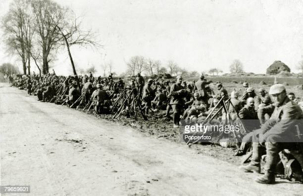 War and Conflict World War I Battle of Verdun France German machine gun company wait to be inspected prior to going forward into the fighting line