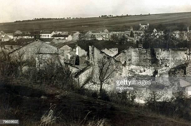 War and Conflict World War I Battle of Verdun France The ruined village of StMarieAPy part of the Verdun battlefield