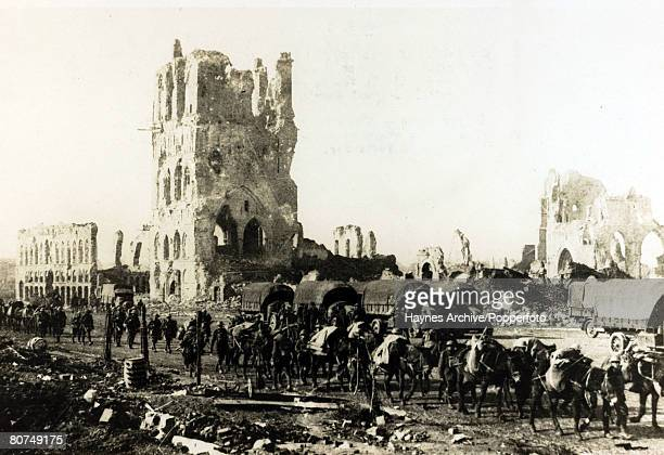 War and Conflict World War I British Military pic 18th October 1917 British supplies being moved by pack mules through devastated Ypres