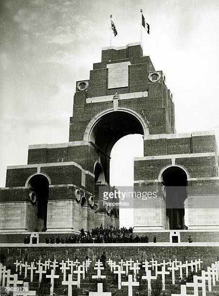 War and Conflict World War I Memorials pic circa 1939 An old photograph of the Thiepval Memorial designed by Edwin Lutyens that is dedicated to the...