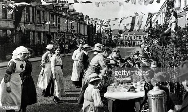War and Conflict World War I Peace pic August 1919 A street party in progress in the peace celebrations at Millfield Road York The celebrations long...