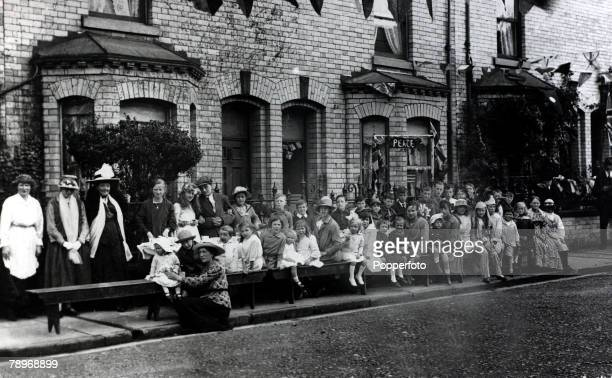 War and Conflict World War I Peace pic August 1919 Children and adults at the street party in the peace celebrations at Millfield Road York The...
