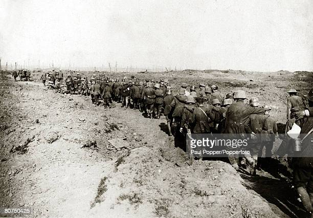 War and Conflict World War I pic September 1917 German prisoners captured in the British attack at the Battle of the Menin Road Flanders are led into...