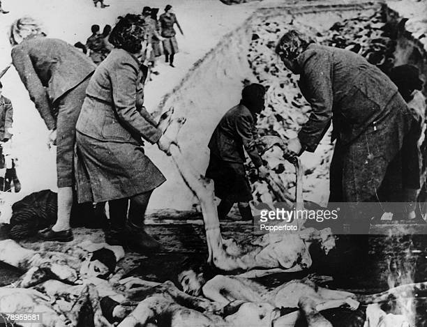 War and Conflict World War II Atrocities pic 1945 A pile of dead bodies some of millions of Jews murdered in the death camps are placed in deep pits...