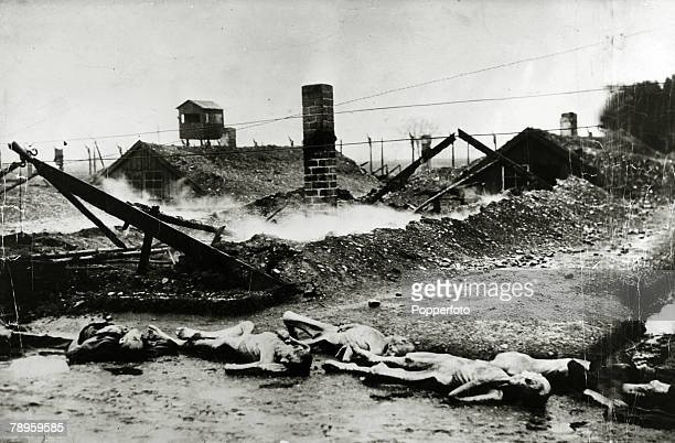 War and Conflict World War II Atrocities pic 1945 Schwabmunchen A pile of skeletal dead bodies some of millions of Jews murdered in the death camps...