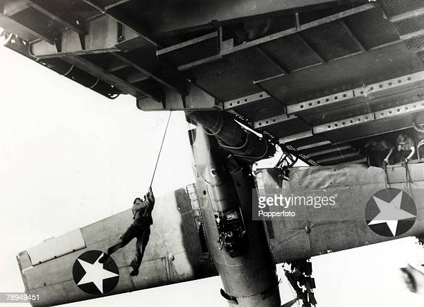 War and Conflict World War II Far East pic circa 1944 The pilot of a Wildcat fighter has a narrow escape as the plane he was piloting skidded off the...