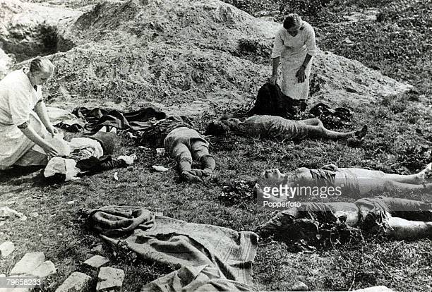 War and Conflict World War II Germany invades Poland pic September 1939 The bodies of noncombatants mainly Polish women shot by machine gun fire by...