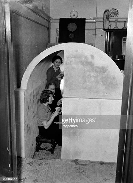 War and Conflict World War II People pic 23rd January 1941 An air raid shelter purpose built in the lounge of a South London semidetached house as...
