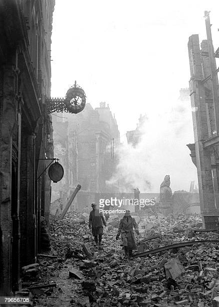 War and Conflict World War II People pic 2nd January 1941 A bombed out street in the city of London reduced to a pile of rubble