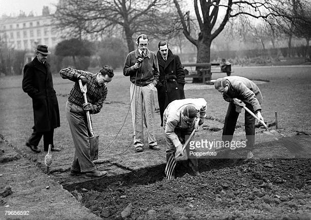 War and Conflict World War II Personalities pic 18th February 1942 'Digging for victory' are BBC outside broadcasters lr Wynford Vaughan Thomas...