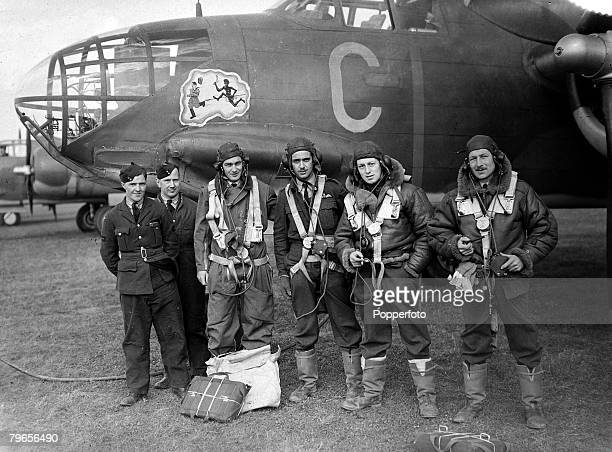 17th April 1942 The Australian crew pose for this picture at an RAF airbase in England in front of their Boston III bomber which is decorated with a...