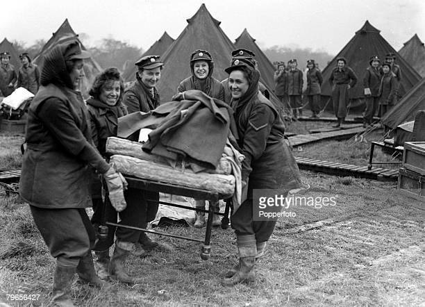 War and Conflict, World War II, pic: 17th November 1944, ATS, girls move a bed into their tented accomodation