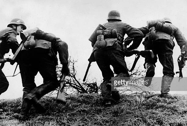 1940 German soldiers going on the attack on the western front in France Germany's victory in France in 1940 followed the 'Phoney War and the German...