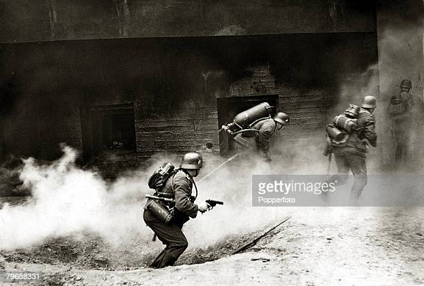 1940 German soldiers using flame throwers against a French bunker on the Maginot Line Germany's victory in France in 1940 followed the 'Phoney War...