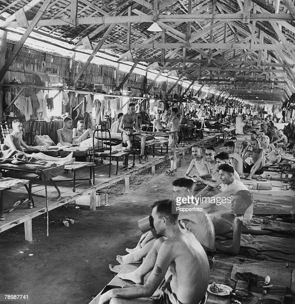 1945 A general view of one of the many wards in the notorious Changi prisonerofwar camp on Singapore showing the emaciated Allied prisoners former...