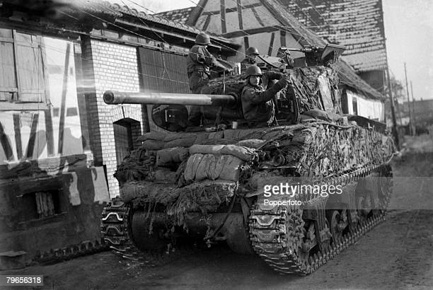 20th January 1945 American tank fighting it's way forward in Alsace
