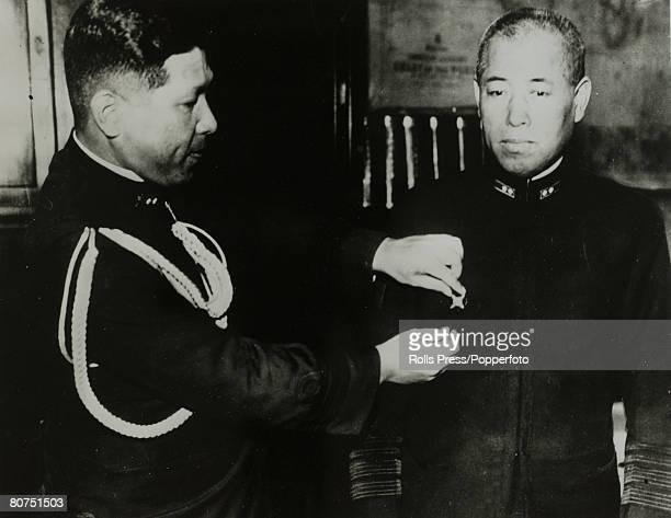 circa 1940 Japanese Fleet Admiral Isoroku Yamamoto right the Japanese Admiral was Commander in Chief of the Combined Japanese fleet