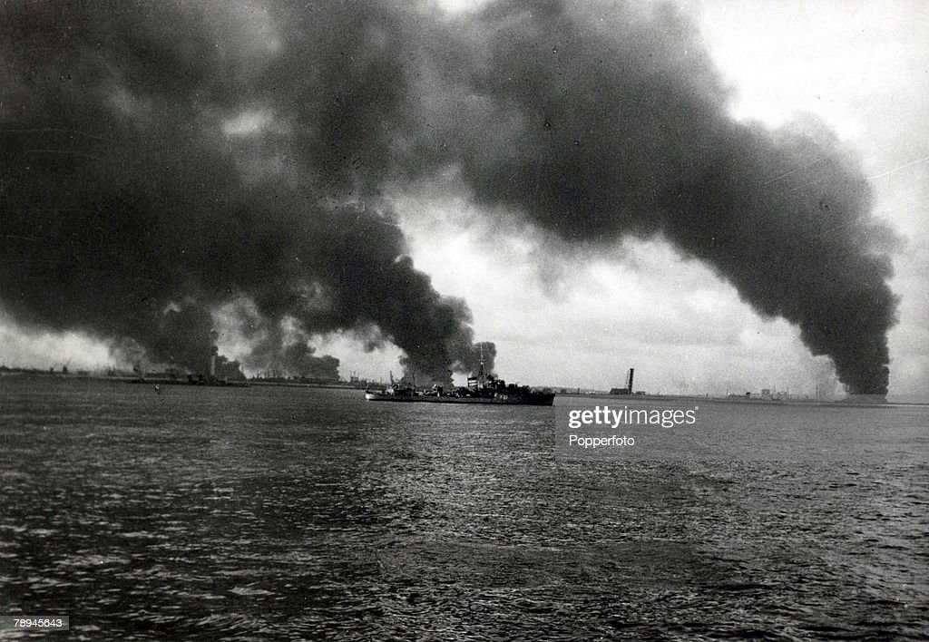 May / June1940, The Battle of Dunkirk, The port Dunkirk shrouded in smoke after fires had been started by German bombing, The Battle of Dunkirk, (which took place approx, 25th May - 3rd June 1940 was one of trying to extricate the British Expeditionary Force and other Allied troops from a hopeless situation, when they had been 'squeezed' into a small area around Dunkirk with no hope of escape, by the vastly superior German mechanized forces, The call was made for every ship and boat to leave from Britain to save as many soldiers as possible, and despite the British leaving behind most of it's equipment, over 338, 000 Allied troops were brought back to England