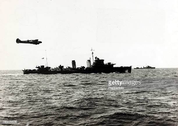 May/June 1940 The Battle of Dunkirk British destroyers with an RAF fighter escort on their way back to England the ships crammed with Allied troops...