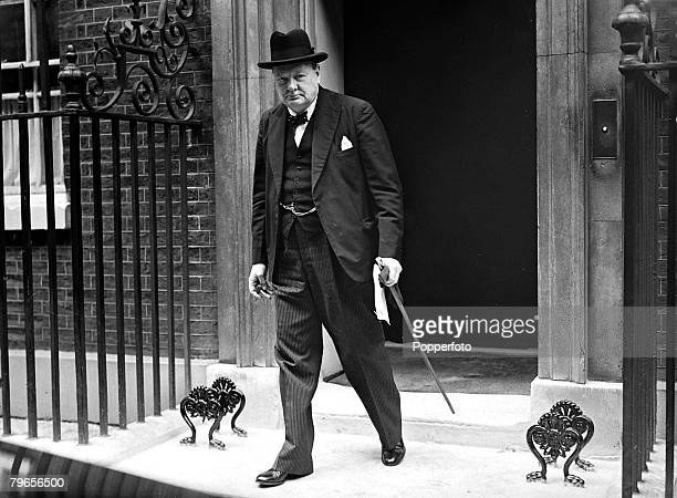 War and Conflict World War II Political Personalities pic 4th July 1940 British Prime Minister Winston Churchill pictured leaving No 10 Downing...