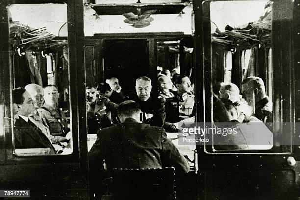 War and Conflict, World War II, The Fall of France, pic: 22nd June 1940, The signing of the Armistice in the famous railway coach in the forest of...