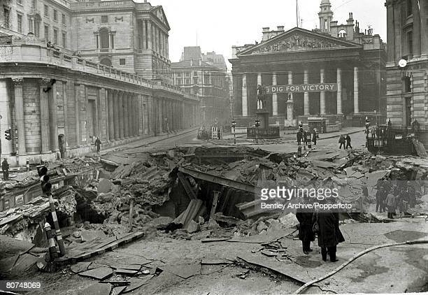 War and Conflict World War Two Air Raids pic January 1941 Great Britain The scene in central London after the Bank Underground Station had been hit...