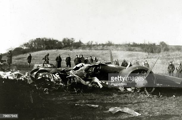 War and Conflict World War Two Air War pic circa 1940 A German twin engined plane having crashed in Northern France after a raid on England
