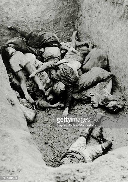 War and Conflict World War Two Atrocities pic 1942 Bodies of Russian women in a pit at Kerch the civilians having been murdered by German Nazis and...