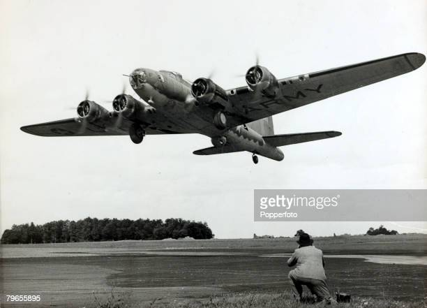 War and Conflict World War Two Aviation pic 1943 A Boeing B17 Flying Fortress taking off from a bomber training station in England The Flying...
