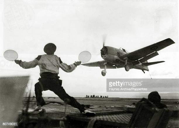 War and Conflict World War Two Aviation pic 1944 An American built Grumman F6F Hellcat carrierbased fighter aircraft of the British Fleet Air Arm...