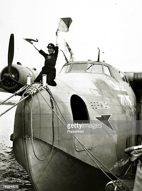 War and Conflict World War Two Aviation pic June 1943 BOAC coxswain signalling to the shore from the Boeing 314 A Clipper Flying Boat 'Berwick'