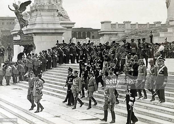 War and Conflict World War Two Circa 1938 Rome Italy Italian leader and dictator Benito Mussolini together with German Nazi leader Adolf Hitler...