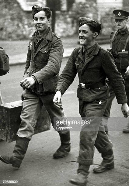 August 1940 England Captured German 'young' soldiers seem glad to be out of the war as they become prisoners of war after being taken prisoner by the...