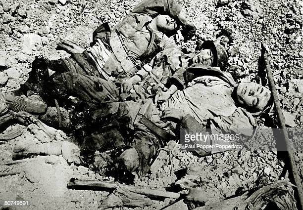 War and Conflict World War Two Far East pic circa 1943 Three dead Japanese soldiers on the Pacific island of Corregidor killed by a grenade