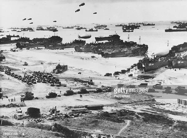 War and Conflict World War Two Invasion of France pic June 1944 American craft of all styles pictured at Omaha Beach Normandy during the first stages...