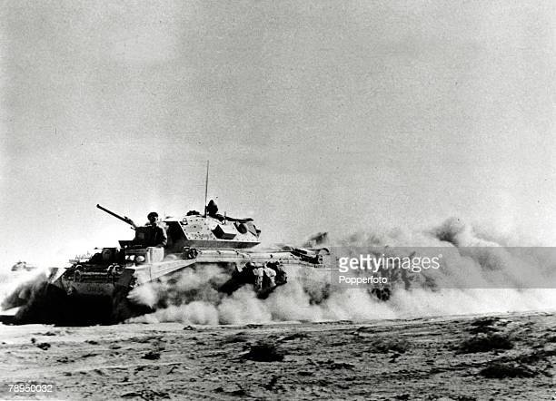 War and Conflict World War Two North Africa pic circa 1942 A British Crusader Mk 1 tank advancing in the desert during the battle of El Alamein