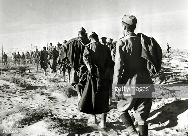 War and Conflict World War Two North Africa pic circa 1941 Italian soldiers captured during the battle of El Alamein marched off into captivity
