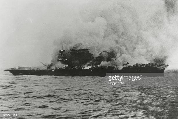 War and Conflict World War Two Pacific Sea War May 1942 The American aircraft carrier USS Lexington burning fiercely during the battle with the...