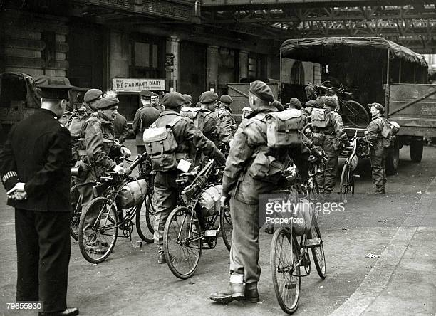10th June 1944 British paratroops with their bicycles on a London station