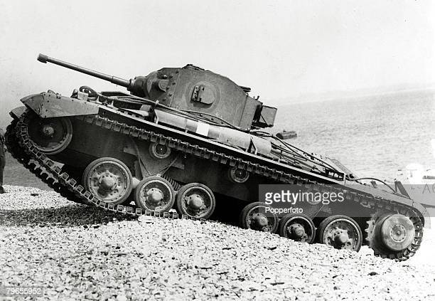 15th June 1943 A British Valentine tank negotiates a pebble beach during a training exercise