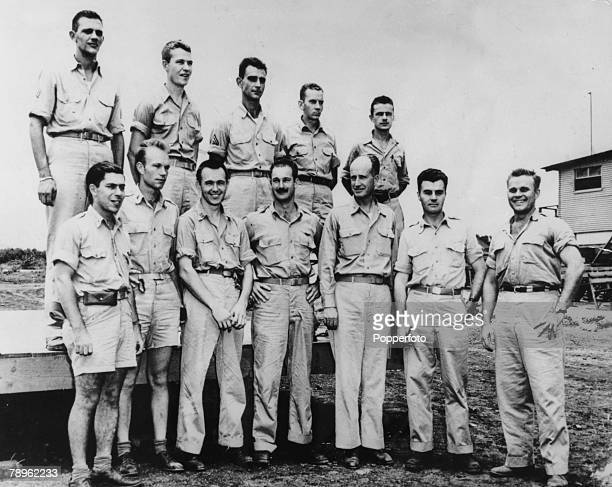 """War and Conflict, World War Two, pic: 1945, The crew of the B-29 Superfortress """"Enola Gay"""" that launched the Atom bomb attack on Hiroshima, Japan,..."""
