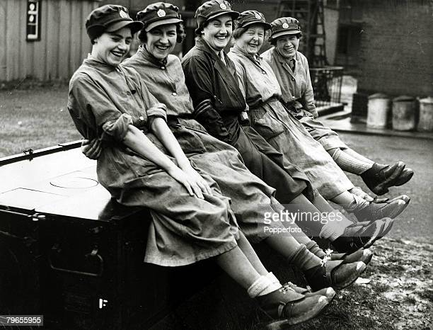 War and Conflict, World War Two, pic: 28th October 1939, England, Women of the Auxiliary Transport Service show off their clogs issued for working in...