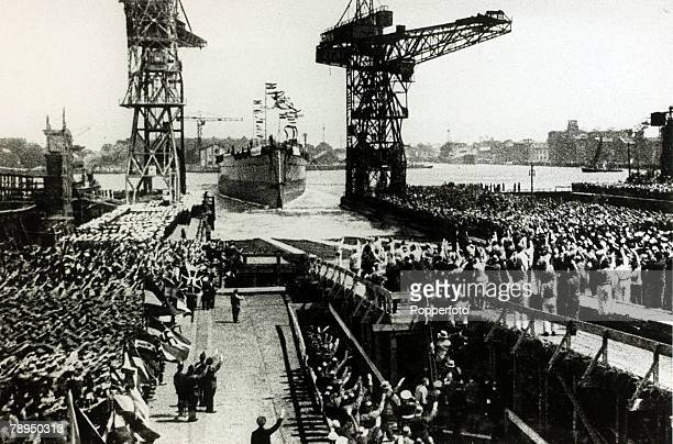 30th June 1934 The keel of the German pocket battleship Admiral Graf Spee at the launch at the Wilhelmshaven yard