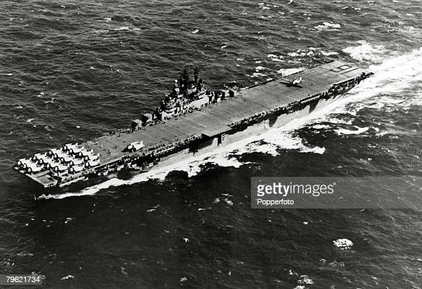 9th January 1945 The USS 'Lexington' pictured at sea with the flight deck and aircraft shown